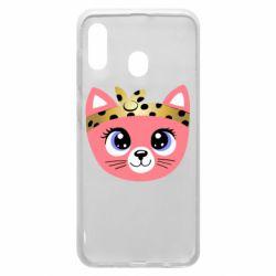 Чехол для Samsung A20 Cat pink