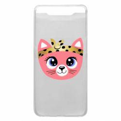Чехол для Samsung A80 Cat pink