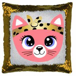 Подушка-хамелеон Cat pink