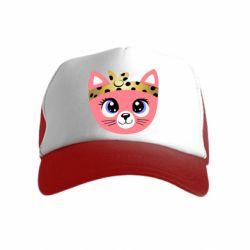 Детская кепка-тракер Cat pink