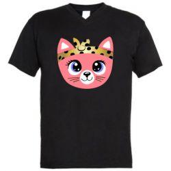 Мужская футболка  с V-образным вырезом Cat pink