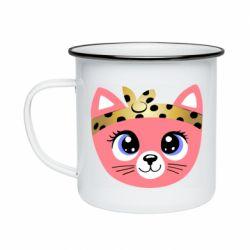 Кружка эмалированная Cat pink