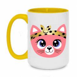 Кружка двухцветная 420ml Cat pink