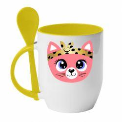 Кружка с керамической ложкой Cat pink