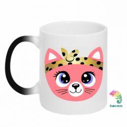 Кружка-хамелеон Cat pink