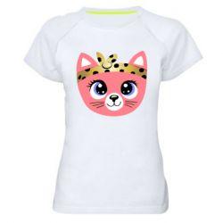 Женская спортивная футболка Cat pink