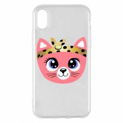 Чехол для iPhone X/Xs Cat pink
