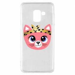 Чехол для Samsung A8 2018 Cat pink