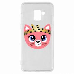 Чехол для Samsung A8+ 2018 Cat pink