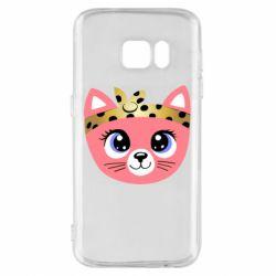 Чехол для Samsung S7 Cat pink