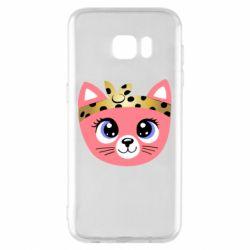 Чехол для Samsung S7 EDGE Cat pink