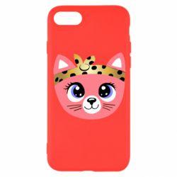 Чехол для iPhone 8 Cat pink
