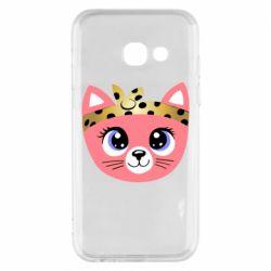 Чехол для Samsung A3 2017 Cat pink