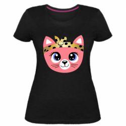 Женская стрейчевая футболка Cat pink