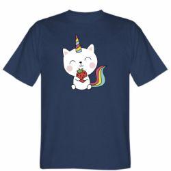 Чоловіча футболка Cat unicorn and strawberries