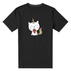 Чоловіча стрейчева футболка Cat unicorn and strawberries