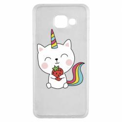 Чохол для Samsung A3 2016 Cat unicorn and strawberries