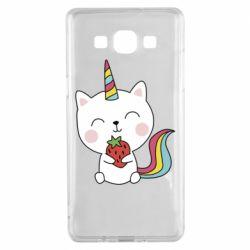 Чохол для Samsung A5 2015 Cat unicorn and strawberries