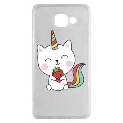 Чохол для Samsung A5 2016 Cat unicorn and strawberries