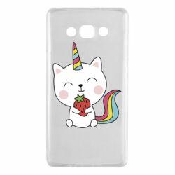 Чохол для Samsung A7 2015 Cat unicorn and strawberries