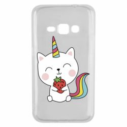Чохол для Samsung J1 2016 Cat unicorn and strawberries