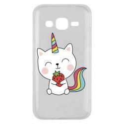 Чохол для Samsung J2 2015 Cat unicorn and strawberries