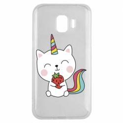 Чохол для Samsung J2 2018 Cat unicorn and strawberries