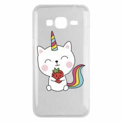Чохол для Samsung J3 2016 Cat unicorn and strawberries