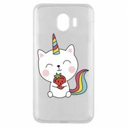 Чохол для Samsung J4 Cat unicorn and strawberries