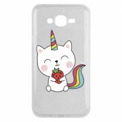 Чохол для Samsung J7 2015 Cat unicorn and strawberries