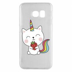 Чохол для Samsung S6 EDGE Cat unicorn and strawberries