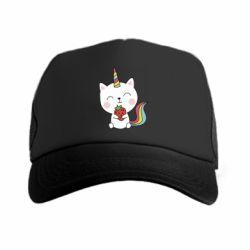 Кепка-тракер Cat unicorn and strawberries