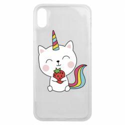 Чохол для iPhone Xs Max Cat unicorn and strawberries