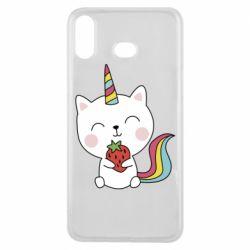 Чохол для Samsung A6s Cat unicorn and strawberries