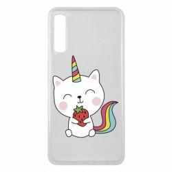 Чохол для Samsung A7 2018 Cat unicorn and strawberries