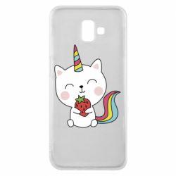 Чохол для Samsung J6 Plus 2018 Cat unicorn and strawberries