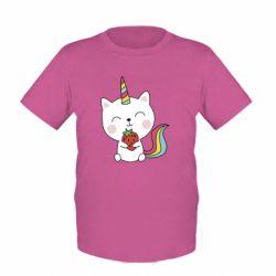 Дитяча футболка Cat unicorn and strawberries