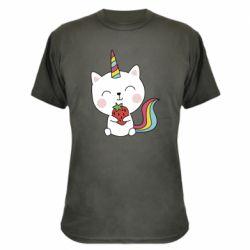 Камуфляжна футболка Cat unicorn and strawberries