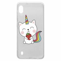 Чохол для Samsung A10 Cat unicorn and strawberries