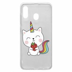Чохол для Samsung A20 Cat unicorn and strawberries