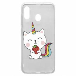 Чохол для Samsung A30 Cat unicorn and strawberries