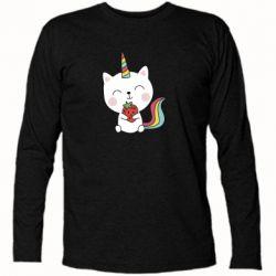 Футболка з довгим рукавом Cat unicorn and strawberries