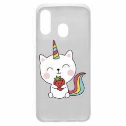 Чохол для Samsung A40 Cat unicorn and strawberries