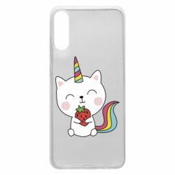 Чохол для Samsung A70 Cat unicorn and strawberries