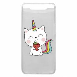 Чохол для Samsung A80 Cat unicorn and strawberries
