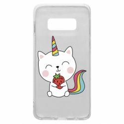 Чохол для Samsung S10e Cat unicorn and strawberries