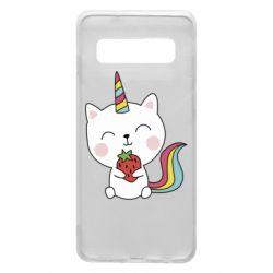 Чохол для Samsung S10 Cat unicorn and strawberries