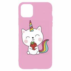 Чохол для iPhone 11 Cat unicorn and strawberries