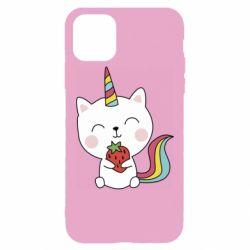 Чохол для iPhone 11 Pro Max Cat unicorn and strawberries
