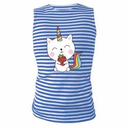 Майка-тільняшка Cat unicorn and strawberries
